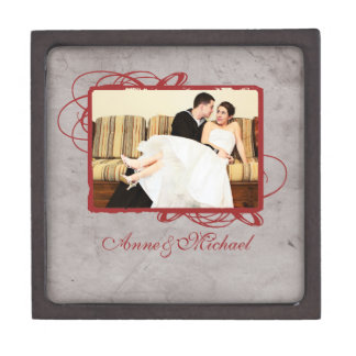 Elegant Grey and Red Vintage Photo Keepsake Box