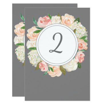 Beach Themed Elegant grey and roses wedding table number