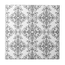 Elegant Grey and White Floral Damask Victorian Art Ceramic Tile