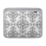 Elegant Grey and White Floral Damask Victorian Art MacBook Air Sleeve