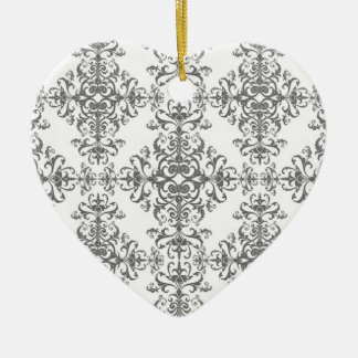 Elegant Grey and White Floral Damask Victorian Art Christmas Tree Ornaments