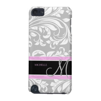 Elegant Grey and white floral damask w monogram iPod Touch (5th Generation) Cases