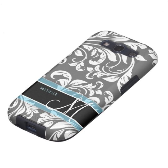Elegant Grey and white floral damask w/ monogram Galaxy S3 Cover