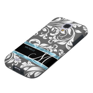 Elegant Grey and white floral damask w/ monogram Galaxy S4 Case