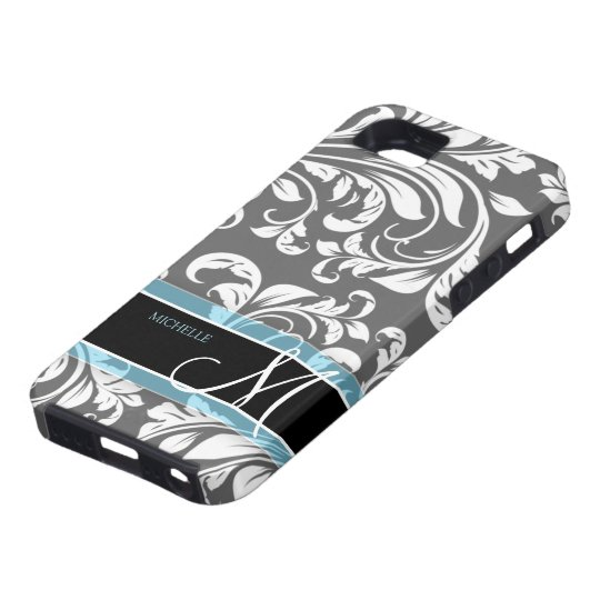 Elegant Grey and white floral damask w/ monogram iPhone SE/5/5s Case