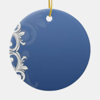 Elegant grey and white floral gift christmas ornaments