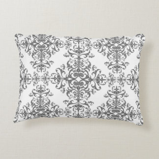 Elegant Grey and White Floral Vintage Style Damask Accent Pillow