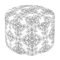 Elegant Grey and White Floral Vintage Style Damask Pouf
