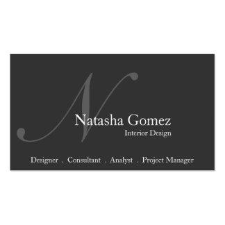 Elegant Grey and White Monogram Business Card