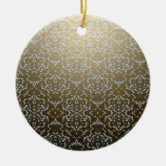 Elegant Grey and White swirls on yellow texture Christmas Ornament