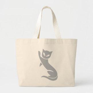 Elegant Grey Cat Large Tote Bag