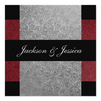 Elegant Grey Dark Red Paisley Engagement Party 5.25x5.25 Square Paper Invitation Card