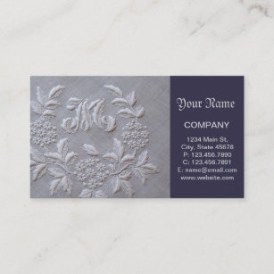 Embroidery business cards zazzle elegant grey embroidery floral monogram letter m business card colourmoves
