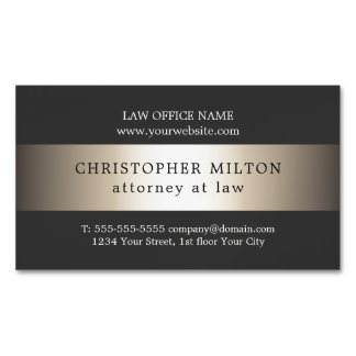 Elegant Grey Faux Gold Stripe Attorney at law Magnetic Business Card