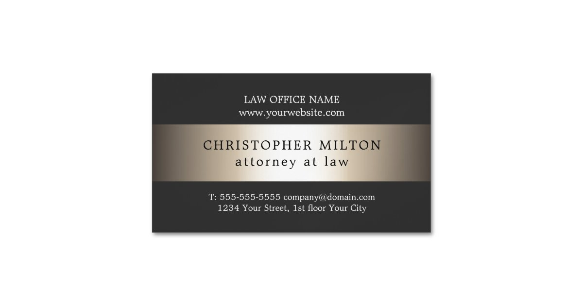 Elegant Grey Faux Gold Stripe Attorney at law Magnetic Business Card ...