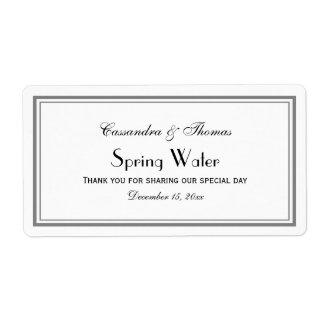 Elegant Grey Framed H Water Bottle Label