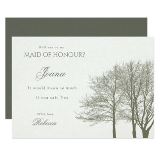 ELEGANT GREY GOLD FALL AUTUMN  Maid of Honour Card