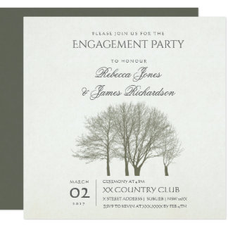 ELEGANT GREY GOLD FALL AUTUMN TREE Engagement card