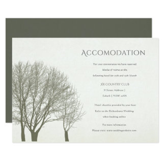 ELEGANT GREY GOLD FALL AUTUMN TREES ACCOMMODATION CARD