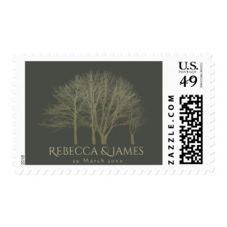 ELEGANT GREY GOLD FALL AUTUMN TREES MONOGRAM POSTAGE