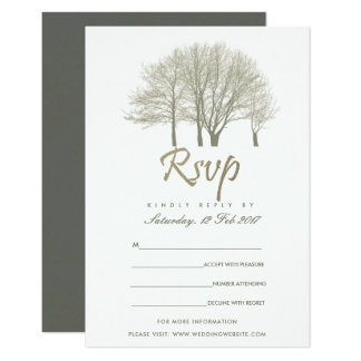 ELEGANT GREY GOLD FALL AUTUMN TREES RSVP CARD