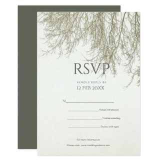 ELEGANT GREY GOLD FALL AUTUMN TREES TABLE CARD