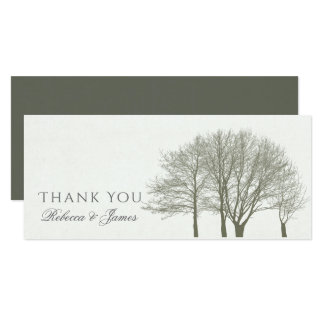 ELEGANT GREY GOLD FALL AUTUMN TREES Thank You Card