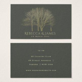 ELEGANT GREY GOLD FALL AUTUMN TREES Wedding Business Card