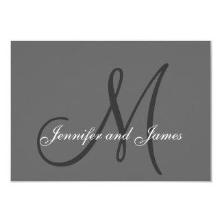 Elegant Grey Gray Monogram Wedding RSVP Card