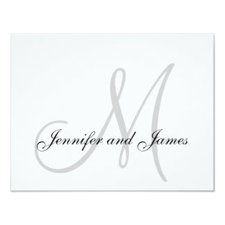 Elegant Grey Gray Monogram Wedding RSVP Card