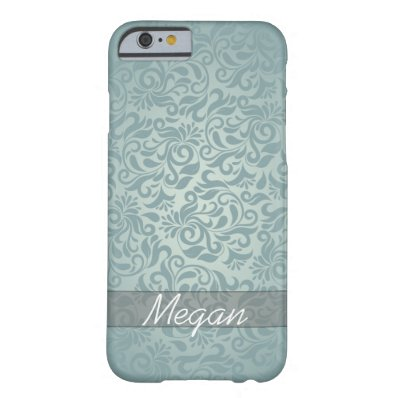 Elegant Grey/Green Damask Monogram Barely There iPhone 6 Case