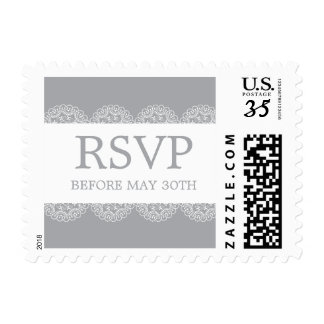Elegant Grey Lace Wedding RSVP Postage