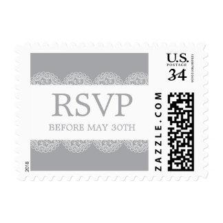 Elegant Grey Lace Wedding RSVP Postage