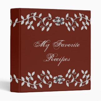 Elegant Grey Leaves Recipe Book Binder