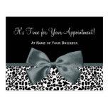 Elegant Grey Leopard Salon Appointment Reminder Postcards