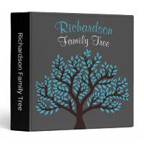 Elegant Grey Light Blue Leaf Family Tree Genealogy 3 Ring Binder