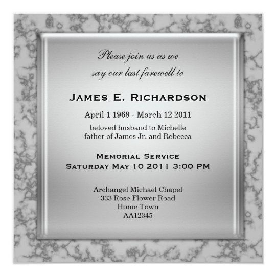Elegant Grey Marble Memorial Service Invitation | Zazzle