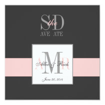 Elegant Grey Pink Save the Date Announcement