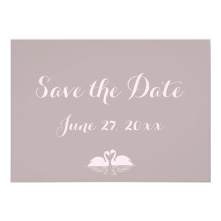 Elegant Grey Pink Swan Wedding Save The Date Cards