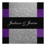 Elegant Grey Purple Paisley Engagement Party Card