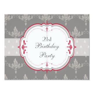 Elegant Grey & Red Roses 21st Birthday Card