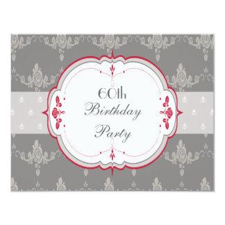 Elegant Grey & Red Roses 60th Birthday Card