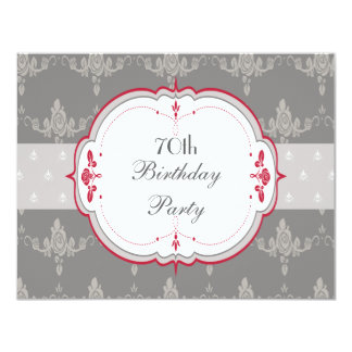 Elegant Grey & Red Roses 70th Birthday 4.25x5.5 Paper Invitation Card