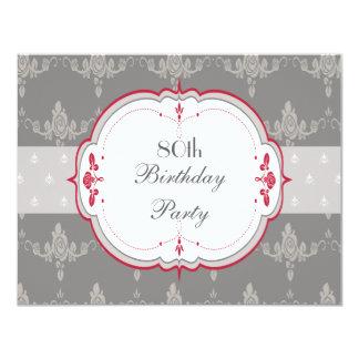 Elegant Grey & Red Roses 80th Birthday Invite