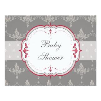 Elegant Grey & Red Roses Baby Shower Card