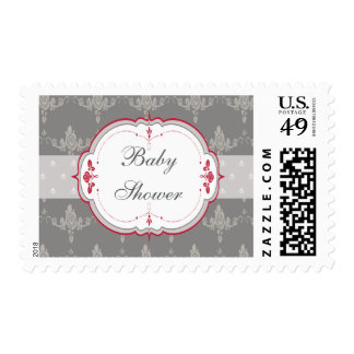 Elegant Grey & Red Roses Baby Shower Postage