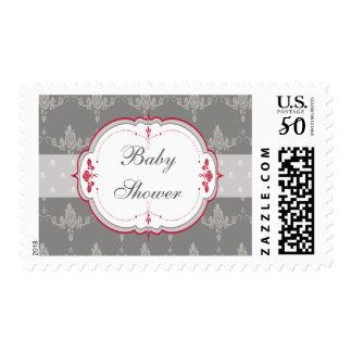 Elegant Grey & Red Roses Baby Shower Postage