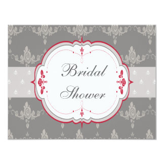 Elegant Grey & Red Roses Bridal Shower Card