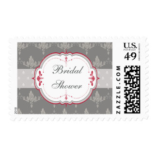 Elegant Grey & Red Roses Bridal Shower Postage