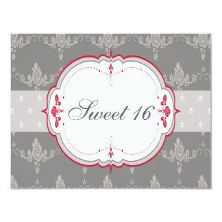 Elegant Grey & Red Roses Sweet 16 Card